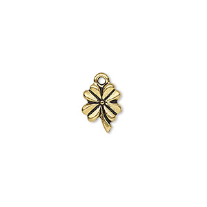charm, tierracast, antique gold-plated pewter (tin-based alloy), 10.5x8.5mm double-sided 4-leaf clover. sold per pkg of 2.