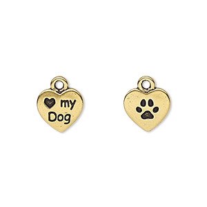 charm, tierracast, antique gold-plated pewter (tin-based alloy), 10x10mm two-sided heart with love my dog and paw print. sold per pkg of 2.
