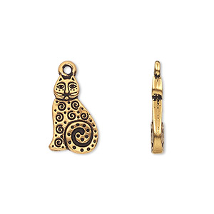 charm, tierracast, antique gold-plated pewter (tin-based alloy), 16x10mm double-sided cat with swirls and dots. sold per pkg of 2.