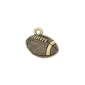 charm, tierracast, antique gold-plated pewter (tin-based alloy), 18x12mm two-sided textured football. sold individually.