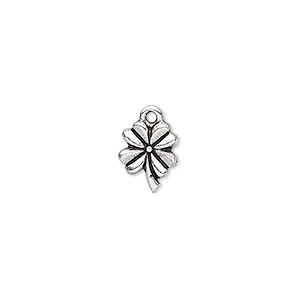 charm, tierracast, antique silver-plated pewter (tin-based alloy), 10.5x8.5mm double-sided 4-leaf clover. sold per pkg of 2.