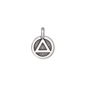 charm, tierracast, antique silver-plated pewter (tin-based alloy), 12mm single-sided round with recovery symbol. sold individually.