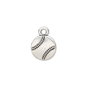 charm, tierracast, antique silver-plated pewter (tin-based alloy), 13mm double-sided baseball. sold individually.
