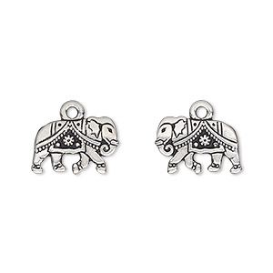 charm, tierracast, antique silver-plated pewter (tin-based alloy), 14x9.5mm double-sided gita elephant. sold individually.