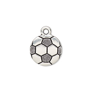 charm, tierracast, antique silver-plated pewter (tin-based alloy), 15mm double-sided textured soccer ball. sold individually.