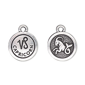 charm, tierracast, antique silver-plated pewter (tin-based alloy), 15mm two-sided flat round with capricorn zodiac sign and symbol. sold individually.