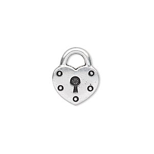 charm, tierracast, antique silver-plated pewter (tin-based alloy), 17x14mm double-sided heart lock. sold per pkg of 2.