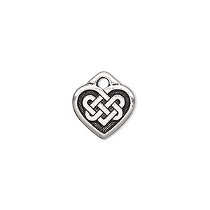 charm, tierracast, antique silver-plated pewter (zinc-based alloy), 13x12mm double-sided heart with celtic knot. sold per pkg of 2.