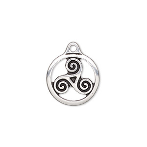 charm, tierracast, antique silver-plated pewter (zinc-based alloy), 16mm double-sided round with triskele. sold per pkg of 2.
