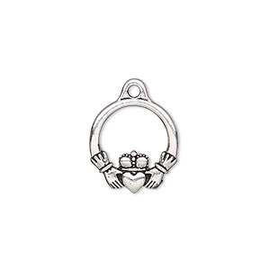 charm, tierracast, antique silver-plated pewter (zinc-based alloy), 16x14.5mm double-sided claddagh. sold per pkg of 2.