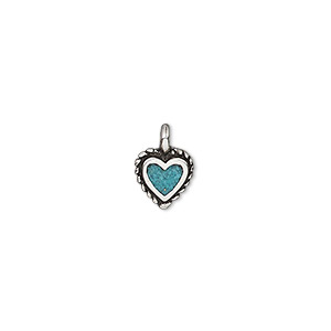 charm, turquoise (dyed / stabilized) and antiqued sterling silver, blue, 8.5x8mm single-sided heart with rope edge. sold individually.