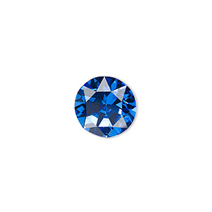chaton, celestial crystal rhinestone, blue, foil back, 12.97-13.22mm faceted round, ss55. sold per pkg of 2.