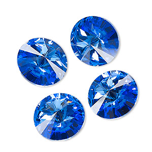 chaton, celestial crystal rhinestone, sapphire blue, foil back, 16mm faceted rivoli. sold per pkg of 4.