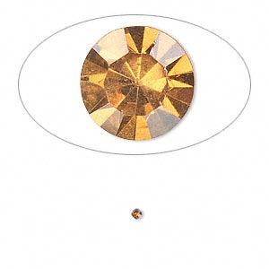 chaton, glass rhinestone, amber yellow, foil back, 1.6-1.7mm faceted round, pp10. sold per pkg of 72.
