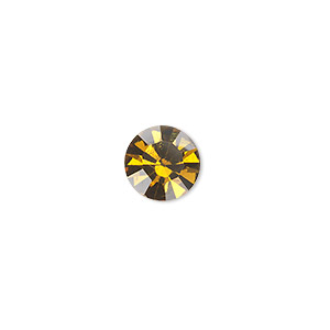 chaton, glass rhinestone, amber yellow, foil back, 9.9-10.2mm faceted round, ss45. sold per pkg of 4.