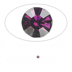 chaton, glass rhinestone, amethyst purple, foil back, 1.4-1.5mm faceted round, pp8. sold per pkg of 72.
