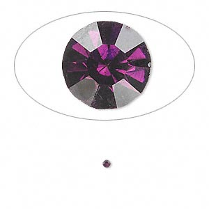 chaton, glass rhinestone, amethyst purple, foil back, 1.6-1.7mm faceted round, pp10. sold per pkg of 72.