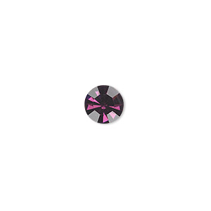 chaton, glass rhinestone, amethyst purple, foil back, 7.93-8.16mm faceted round, ss38. sold per pkg of 12.