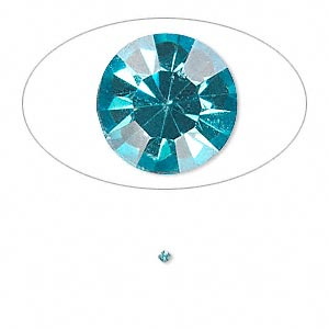 chaton, glass rhinestone, aqua blue, foil back, 1.4-1.5mm faceted round, pp8. sold per pkg of 72.
