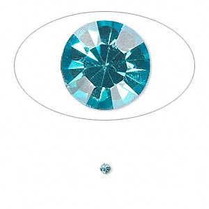 chaton, glass rhinestone, aqua blue, foil back, 2.1-2.2mm faceted round, pp15. sold per pkg of 72.