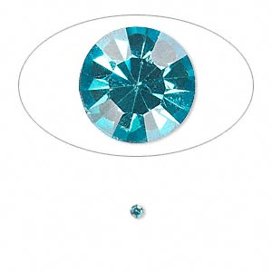 chaton, glass rhinestone, aqua blue, foil back, 2.2-2.3mm faceted round, pp16. sold per pkg of 72.
