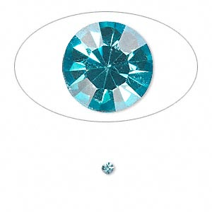 chaton, glass rhinestone, aqua blue, foil back, 2.4-2.5mm faceted round, pp18. sold per pkg of 72.