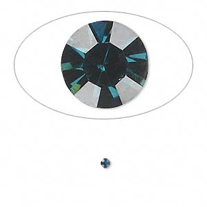 chaton, glass rhinestone, capri blue, foil back, 1.9-2.0mm faceted round, pp13. sold per pkg of 72.