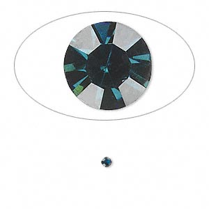 chaton, glass rhinestone, capri blue, foil back, 2.0-2.1mm faceted round, pp14. sold per pkg of 72.