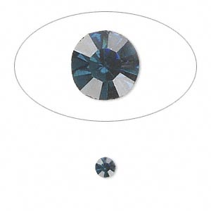 chaton, glass rhinestone, capri blue, foil back, 4-4.1mm faceted round, pp32. sold per pkg of 48.