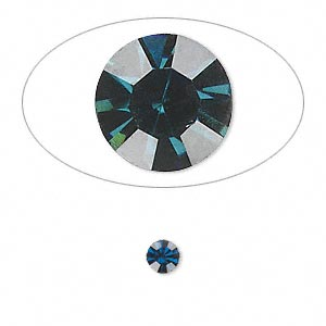 chaton, glass rhinestone, capri blue, foil back, 4.4-4.6mm faceted round, ss19. sold per pkg of 36.