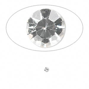 chaton, glass rhinestone, crystal clear, foil back, 2.0-2.1mm faceted round, pp14. sold per pkg of 72.