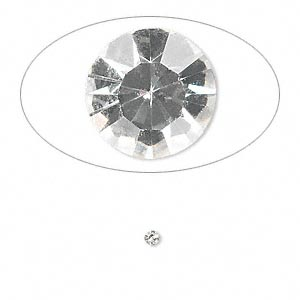 chaton, glass rhinestone, crystal clear, foil back, 2.1-2.2mm faceted round, pp15. sold per pkg of 72.