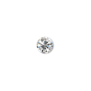 chaton, glass rhinestone, crystal clear, foil back, 7.93-8.16mm faceted round, ss38. sold per pkg of 12.