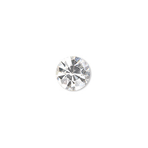 chaton, glass rhinestone, crystal clear, foil back, 9.9-10.2mm faceted round, ss45. sold per pkg of 4.