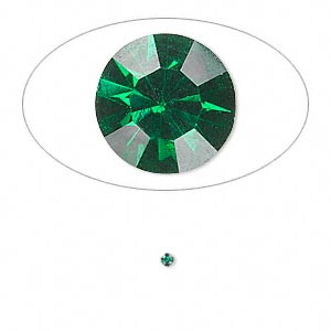 chaton, glass rhinestone, emerald green, foil back, 1.6-1.7mm faceted round, pp10. sold per pkg of 72.