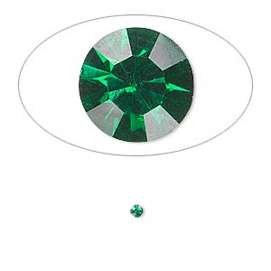 chaton, glass rhinestone, emerald green, foil back, 2.0-2.1mm faceted round, pp14. sold per pkg of 72.
