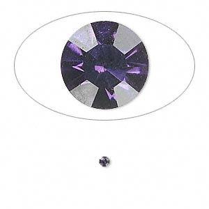 chaton, glass rhinestone, iris blue, foil back, 2.1-2.2mm faceted round, pp15. sold per pkg of 72.