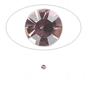 chaton, glass rhinestone, light amethyst purple, foil back, 2.1-2.2mm faceted round, pp15. sold per pkg of 72.