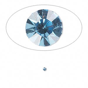 chaton, glass rhinestone, light sapphire blue, foil back, 1.6-1.7mm faceted round, pp10. sold per pkg of 72.
