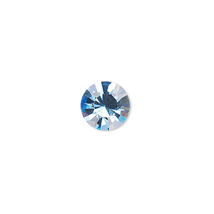 chaton, glass rhinestone, light sapphire blue, foil back, 9.9-10.2mm faceted round, ss45. sold per pkg of 4.