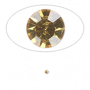 chaton, glass rhinestone, light topaz, foil back, 1.7-1.8mm faceted round, pp11. sold per pkg of 72.