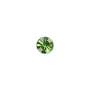 chaton, glass rhinestone, olivine, foil back, 7.93-8.16mm faceted round, ss38. sold per pkg of 12.