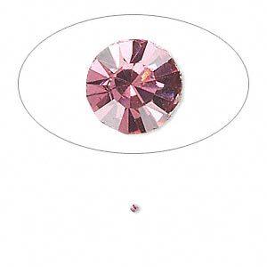 chaton, glass rhinestone, rose, foil back, 1.3-1.35mm faceted round, pp6. sold per pkg of 72.