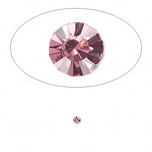 chaton, glass rhinestone, rose, foil back, 2.0-2.1mm faceted round, pp14. sold per pkg of 72.