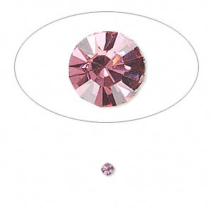 chaton, glass rhinestone, rose, foil back, 2.4-2.5mm faceted round, pp18. sold per pkg of 72.