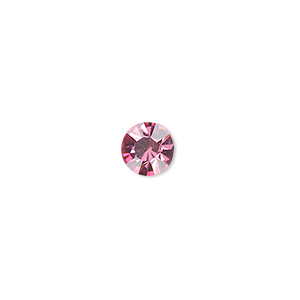 chaton, glass rhinestone, rose, foil back, 7.93-8.16mm faceted round, ss38. sold per pkg of 12.