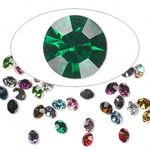 chaton mix, glass rhinestone, mixed colors, foil back, 2.1-2.2mm faceted round, pp15. sold per pkg of 72.