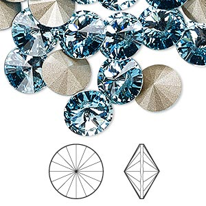 chaton, swarovski crystal rhinestone, aquamarine, foil back, 10.54-10.91mm faceted rivoli (1122), ss47. sold per pkg of 288 (2 gross).