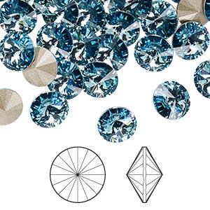 chaton, swarovski crystal rhinestone, aquamarine, foil back, 8.16-8.41mm faceted rivoli (1122), ss39. sold per pkg of 144 (1 gross).