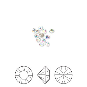 chaton, swarovski crystal rhinestone, crystal ab, foil back, 2.4-2.5mm xilion round (1028), pp18. sold per pkg of 12.
